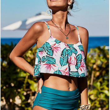 Pleated top with high waist print conservative cover belly hot spring split swimming