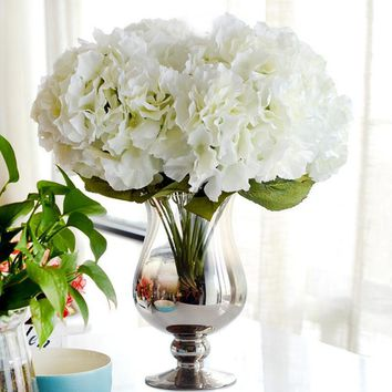 Artificial Flower Hydrangea Bouquet 5 Heads Silk Flower Real Touch Fake Flower For DIY Home Wedding Decoration Floral
