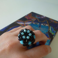 Beaded Ring || Swarovski || Blue || Black || Beadwork || Minimal || Renascence || Custom Ring || Love || Cocktail Ring || Handmade || Beaded