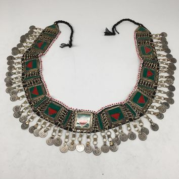 "Vintage Afghan Kuchi Tribal ATS Statement Coins Red Green Inlay Belt 54"",KB27"
