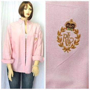 Vintage 80s Ralph Lauren pink oxford shirt L Lauren preppy long sleeve pristine butto