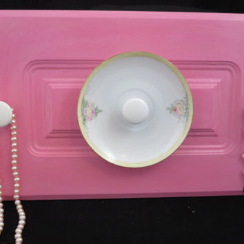 Pink Cabinet Door Jewelry Organizer, Yellow Pink Gold China Plate, Porcelain Knob Hanger, Wall Décor 00125