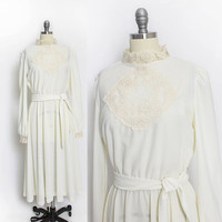 Vintage 1970s Dress - Off White Lace & Knit Sheer Boho Peasant Dress  - Small