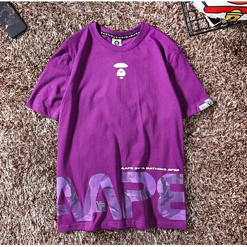 Bape Aape New fashion letter print camouflage couple top t-shirt Purple