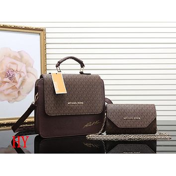 MK Michael Kors Women Fashion Leather Handbag Satchel Shoulder Bag Crossbody Set Two Piece