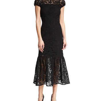 Victoria Beckham Cap-Sleeve Mock-Neck Lace Midi Dress, Black