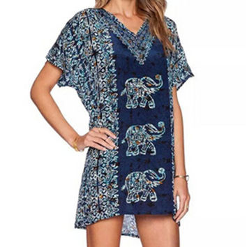 Vintage Ethnic Elephant & Floral Print V Neck Short Sleeve Short Shift Dress  New Women's Summer Straight tshirt dress Tops