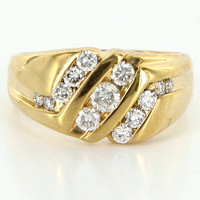 Vintage 14 Karat Yellow Gold Diamond Mens Cocktail Ring Fine Estate Jewelry
