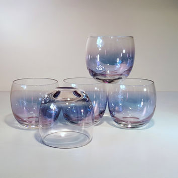 Vintage Roly Poly Gem Tone Federal Glass Beverage 11oz Glasses, Set of 5, 1960s
