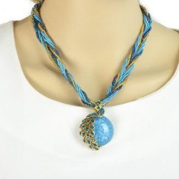 Boho Peacock Round Stone Pendant on a Multilayer Seed Beaded Necklace