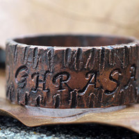 Personalized Men's / Women's Copper Ring Band, Engraved On Outside, Treebark Texture, Woodgrain, Wide Width, Oxidized Finish