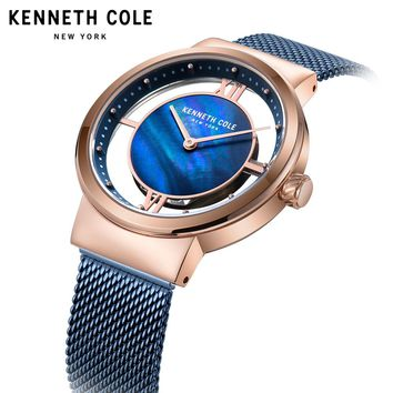 Kenneth Cole 2018 Womens Watches Quartz See-through Simple Stainless Stee Rose Gold Bracelet Strap Waterproof Watches KC50231002