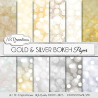 "Bokeh digital paper ""Gold & Silver Bokeh"" Bokeh Overlay, Gold digital backgrounds, Bokeh Background for Photographers, invitations and more"