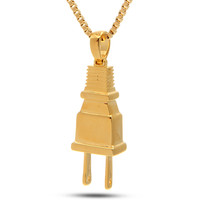 "14K Gold ""Empire"" Plug Necklace"