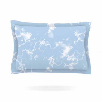 "Vasare Nar ""Marble Clouds"" White Blue Pillow Sham"
