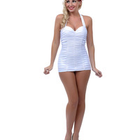 Unique Vintage White Ruched Mansfield Halter One Piece Swimsuit