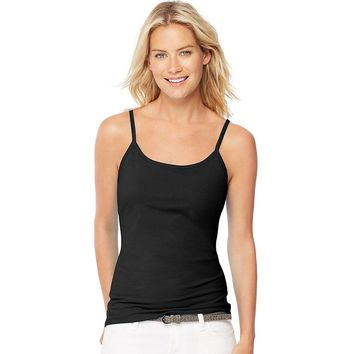 Hanes Womens Stretch Cotton Cami with Built-In Shelf Bra