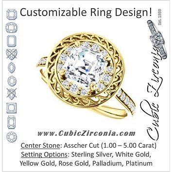 Cubic Zirconia Engagement Ring- The Ariané Contessa (Customizable Cathedral-style Asscher Cut featuring Cluster Accented Filigree Setting & Pavé Band)