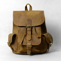 "Large Handmade Vintage Leather Backpack / Leather Satchel / Leather Travel Bag / Day Pack / Weekend Bag / 15"" MacBook 15"" Laptop Bag D39"