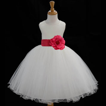 Ivory Flower Girl dress tie sash pageant wedding bridal recital children tulle bridesmaid toddler 37 sashes sizes 12-18m 2 4 6 8 10 12 #829s