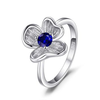 Flower 0.34ct created Blue Sapphire women's ring solid 925 sterling silver