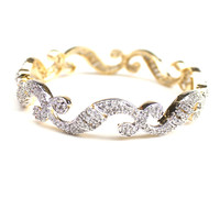 Fashion Bollywood Gold Silver Plated Dual Tone Wavy Edge Bangle in Cubic Zirconia