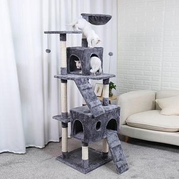 Cat Furniture Tree House with Hanging Ball Solid Wood Cat Condo - 3 Sizes