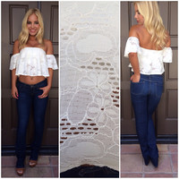 Hearts A Flutter Off Shoulder Top - IVORY