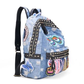 Studded Denim Patches Backpack