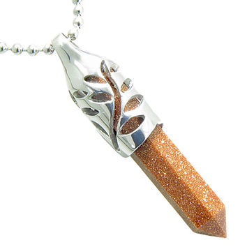 Positive Energy Leaf Amulet Crystal Point Lucky Charm Goldstone Pendant 18 Inch Necklace