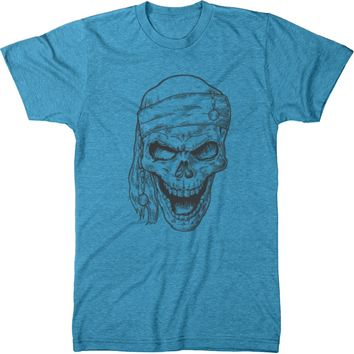 Monotone Pirate Skull Men's Modern Fit Tri-Blend T-Shirt
