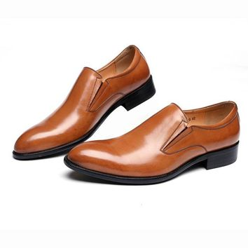 Pimjim Breathable Black/Brown Loafers Dress Genuine Leather