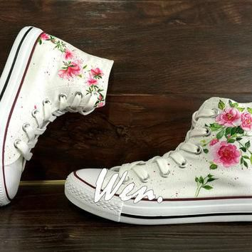 WEN Original Design Floral Converse Wedding Flowers Shoes Hand Painted Shoes,Custom Co