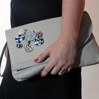 Embellished Vintage Gray Clutch Purse - Rosettes / Vintage Jewelry - Upcycled Grey Navy Silver Feminine Bag - Small Evening Accessory