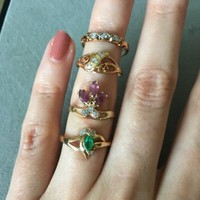 Solid 14K Gold Marquise Ruby Diamonds Vintage Antique Victorian Art Deco Ring