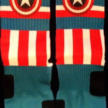 Captain America Custom Nike Elite Socks Parody