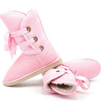 Pink Winter Faux Fur Snow Boot Man-Made Women Ankle Buckle Biker Boots