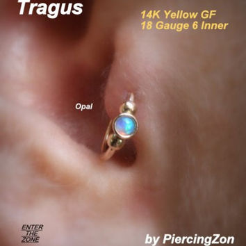Tragus 14K yellow gold filled 18 gauge 6mm w/ Pearl gem stone, nose ring, helix, eyebrow, cartilage, modern jewelry hoop face piercing