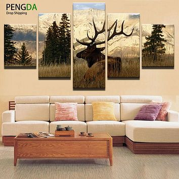 Wall Art Canvas Painting Style 5 Piece Animal Deer Decorative Modular Pictures For Living Room Bedroom Oil Prints Frames