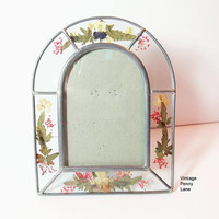 Vintage Handmade Picture Frame, Pressed Flower / Glass