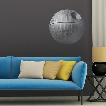 Large Death Star Print High Resolution Image on Reusable Adhesive Fabric wall art print sticker star wars darth vader