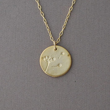 Gold Dandelion Circle Disc Necklace by JENNYandJUDE on Etsy