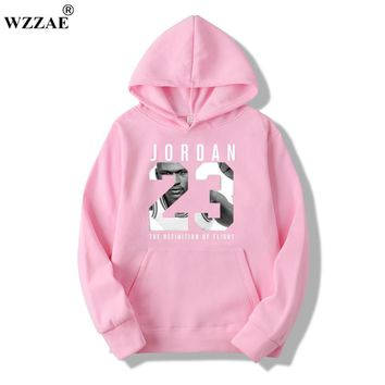 WZZAE Autumn 2017 New Women/Men's Casual Players JORDAN 23 Print Hedging Hooded Fleece Sweatshirt Hoodies Pullover Size M-XXXL