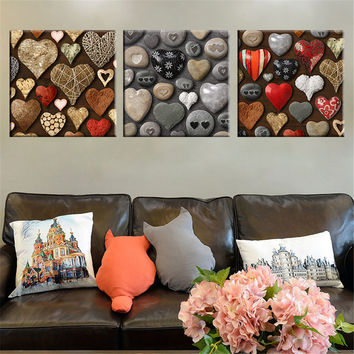 3 Pieces Heart Shape Stone Canvas Picture Art Print Wall Paintin Home Decor for Living Room Unique Christmas Decoration Unframed