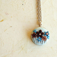Boho flower necklace, 0.71 inches pendant