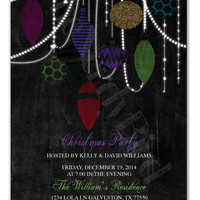 Christmas Lights and Ornaments on a Chalkboard Background Christmas Party Design Printable invitation