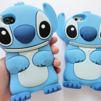 SALE 80-20%OFF: Very Cute Stitch from Lilo & Stitch 3D iPhone 4 and iPhone 5 soft protective cases