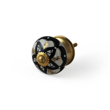 Set of 4 Black & White Embossed Ceramic Decorative Knobs with Gold Detailing /  Cabinet or Desser Pulls