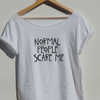 American Horror Story shirt Off shoulder Normal People Scare Me t shirt tee white color women XS S M L XL from CelebriTee