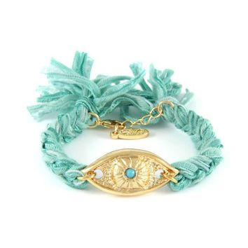 Turquoise Vintage Ribbon Bracelet with Gold Evil Eye  Charm